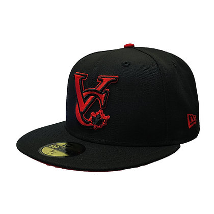 Men's Vancouver Canadians New Era VC Logo Red on Black 59FIFTY Fitted Hat