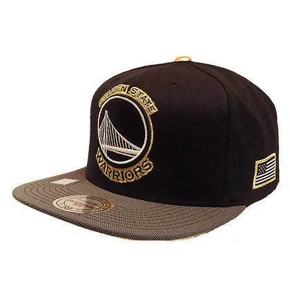 Men's Golden State Warriors Mitchell and Ness Gold Button Black Snapback