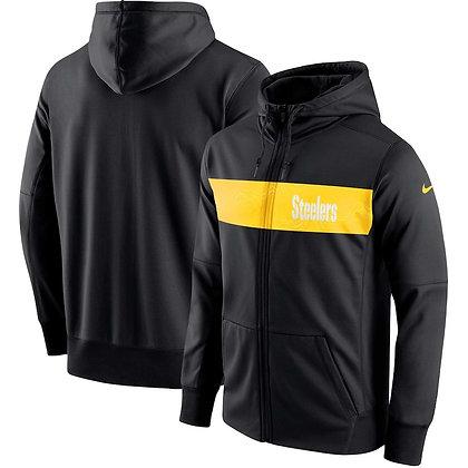 Men's Pittsburgh Steelers Nike Black Team Sideline Full-Zip Performance Hoodie