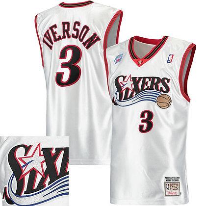 Men's Philadelphia 76ers Allen Iverson White 2000-1 HWC Mitchell &Ness Swingman