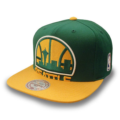 Men's Seattle SuperSonics Mitchell and Ness Cropped XL Logo 2 Tone Snapback