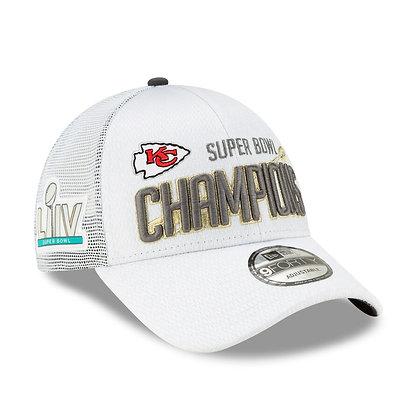 Men's Kansas City Chiefs New Era White Super Bowl LIV Champions Locker Room Hat