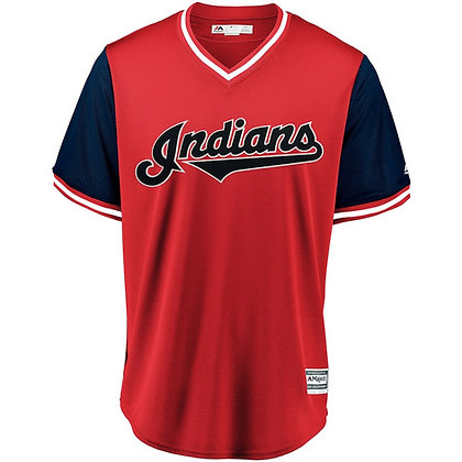 Men's Cleveland Indians Majestic Red/Navy 2018 Weekend Pullover Jersey