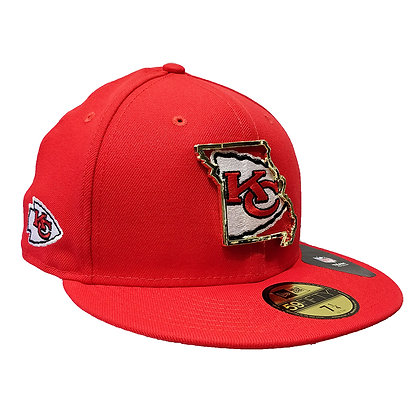 Men's Kansas City Chiefs State Metal Framed New Era Red 59FIFTY Fitted Hat