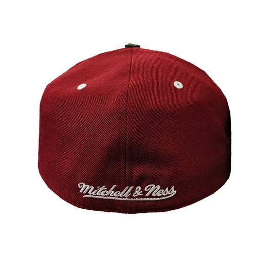 size 40 3b656 a98a2 Men s Vancouver Millionaires Mitchell   Ness Maroon Splashed-Grey Fitted Hat