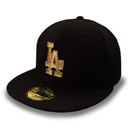 LA Dodgers Golden Finish Logo New Era Black 59FIFTY Fitted Hat