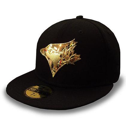 Toronto Blue Jays Golden Finish Logo New Era Black 59FIFTY Fitted Hat