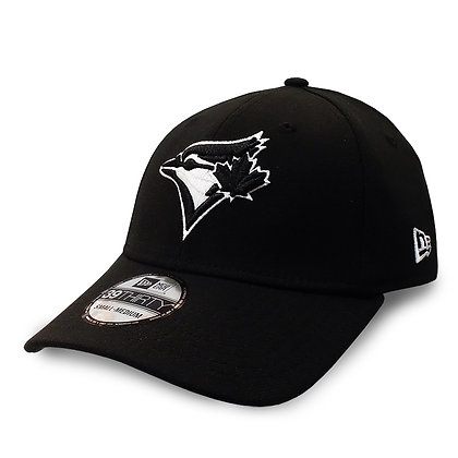Men's Toronto Blue Jays New Era Black On White 39THIRTY Flex Hat