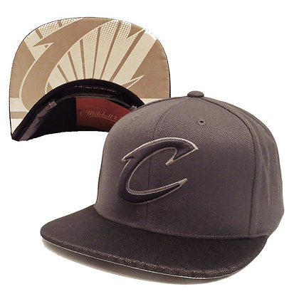 Men's Cleveland Cavaliers Mitchell and Ness Gray on Gray Screened Visor Snapback