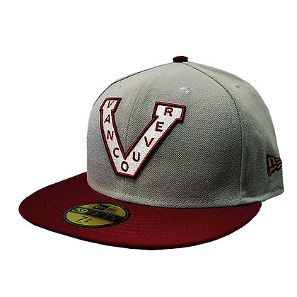 Men's Vancouver Millionaires New Era Trim Logo Light Grey/Maroon 59FIFTY Hat