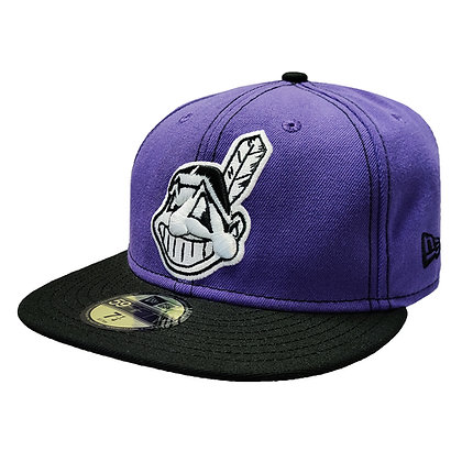 Men's Cleveland Indians Chief Wahoo Purple/Black 59FIFTY Fitted Hat