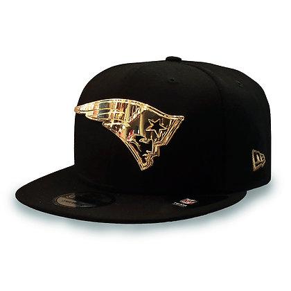 Men's New England Patriots Golden Finished Logo New Era Black 9FIFTY Snapback