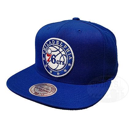 Men's Philadelphia 76ers Wool Solid Mitchell & Ness Blue Snapback Hat