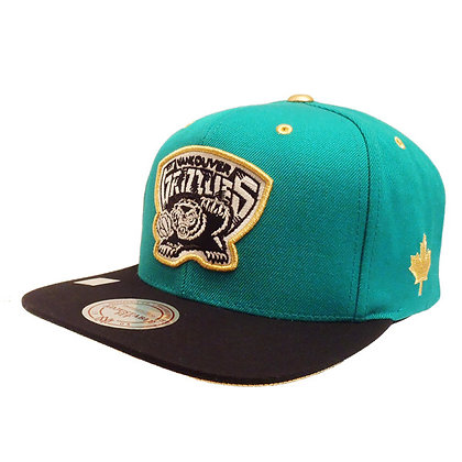 Men's Vancouver Grizzlies Mitchell and Ness Gold Button Teal Snapback