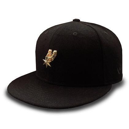 Men's San Antonio Spurs New Era Gold Liquid Metal Logo Wool Black 9 FIFTY