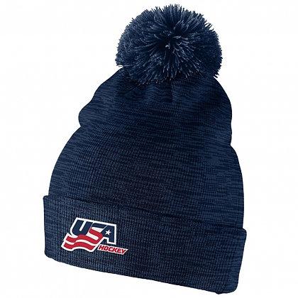 Team USA IIHF 2019 World Junior Champ. Nike Cuffed Pom Knit Hat / Beanie