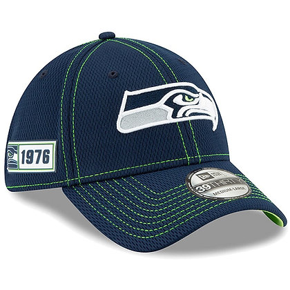 Men's Seattle Seahawks New Era Navy 2019 Sideline Road 39THIRTY Flex Hat
