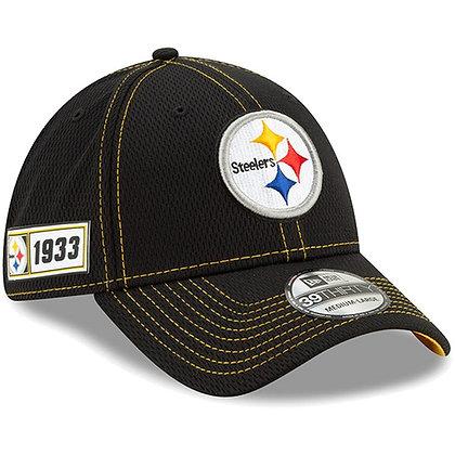 Men's Pittsburgh Steelers New Era Black 2019 Sideline Road 39THIRTY Flex H