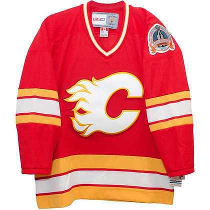 Men's Calgary Flames Red CCM Vintage 1989 Stanley Cup Patch Jersey