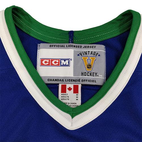 7fd471eb8a3 Men s Vancouver Canucks CCM Original Stick Rink logo Navy Jersey