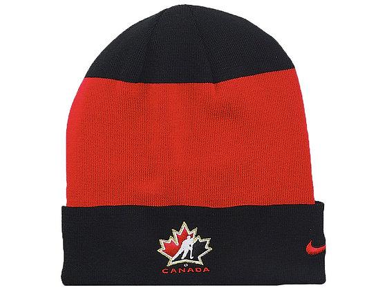 Team Canada 2019 IIHF WJC Black Red Stripe Nike Knit Hat Toque Beanie
