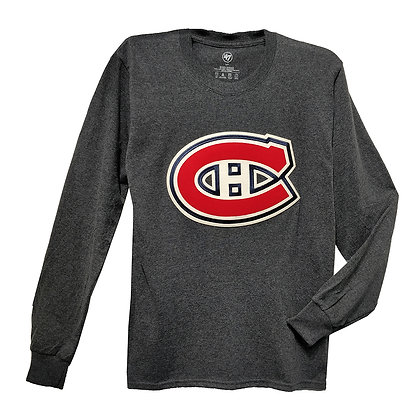 Men's Montreal Canadiens Embroidery Crest '47 Brand Grey LS T-shirt