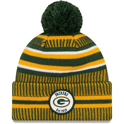 Men's Green Bay Packers New Era Green/Gold 2019 NFL Sideline Home Official Sport