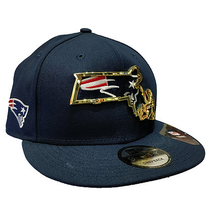 Men's New England Patriots New Era State Metal Framed 9FIFTY Navy Snapback