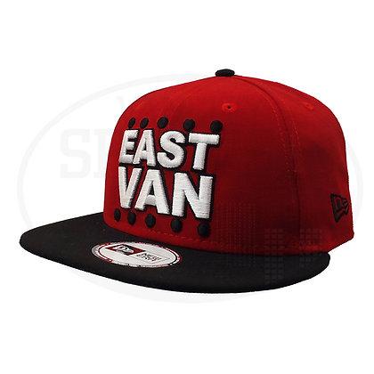Men's East Van Big Logo New Era Red / Black Visor Snapback