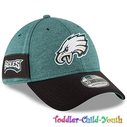 Kids Philadelphia Eagles New Era Green/Gray 2018 NFL Sideline Home 39THIRTY Hat