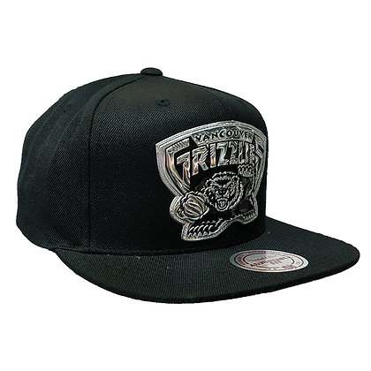 Men's Vancouver Grizzlies Black&Silver Mitchell & Ness Black Snapback