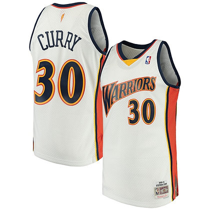 Men's Golden State Warriors Stephen Curry White 09-10 HWC Swingman Jersey