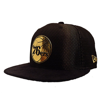 Men's Philadelphia 76ers New Era ONC Gold on Black Suede 59FIFTY Fitted Hat