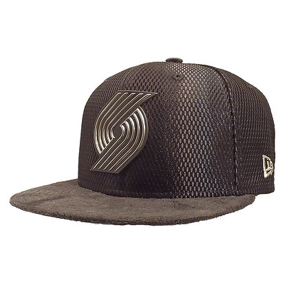 Men's Portland Trailblazers New Era ONC Silver on Grey Suede 59FIFTY Fitted Hat