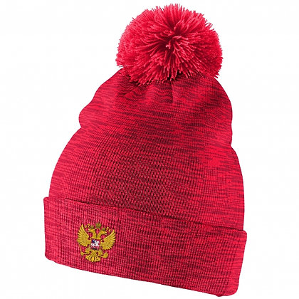 Team Russia IIHF 2019 World Junior Champ. Nike Cuffed Pom Knit Hat / Beanie