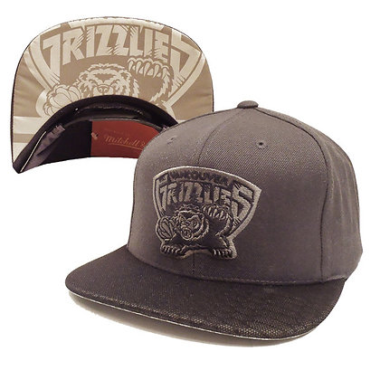 Men's Vancouver Grizzlies Mitchell and Ness Gray on Gray Screened Visor Snapback