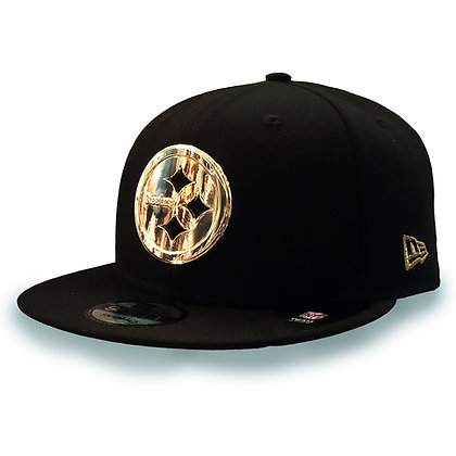 Men's Pittsburgh Steelers Golden Finished Logo New Era Black 9FIFTY Snapback