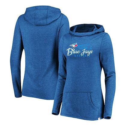 Women's Toronto Blue Jays Majestic Winning Side Long Sleeve Tri-Blend Hoodie