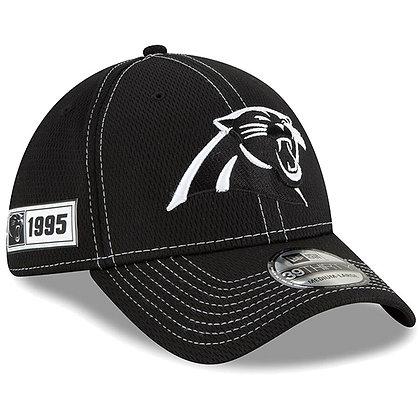 Men's Carolina Panthers New Era Black 2019 Sideline Road 39THIRTY Flex Hat