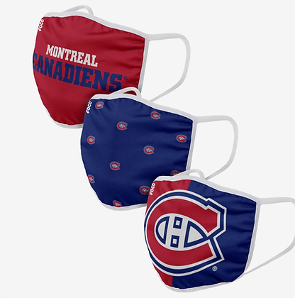 Montreal Canadiens 3 PACK FACE MASKS (Adult)
