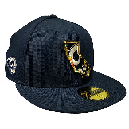 Men's LA Rams State Metal Framed New Era Navy 59FIFTY Fitted Hat
