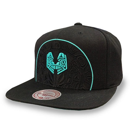 Men's Vancouver Grizzlies Mitchell and Ness Cropped XL Logo Black Snapba