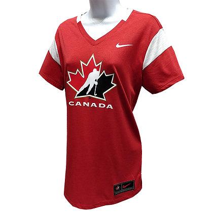 Women's Team Canada 2019 IIHF Main Logo Nike Tri-Blend Red T-Shirt
