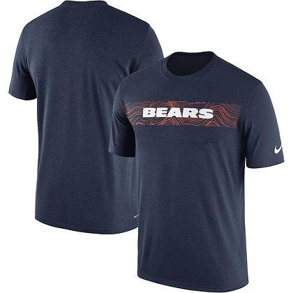 Men's Chicago Bears Nike Navy Sideline Seismic Performance T-Shirt