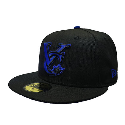 Men's Vancouver Canadians New Era VC Logo Blue on Black 59FIFTY Fitted Hat