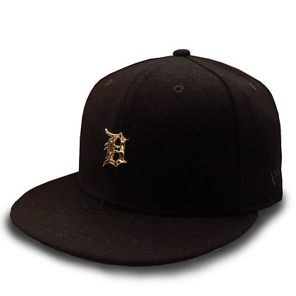 Men's Detroit Tigers New Era Gold Metal Logo on Wool Black 9FIFTY Snap
