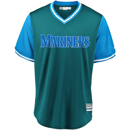 Men's Seattle Mariners Majestic Aqua/Light Blue 2018 Weekend Pullover Jersey