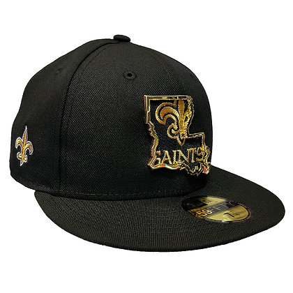 Men's New Orleans Saints State Metal Framed New Era Black 59FIFTY Fitted Hat