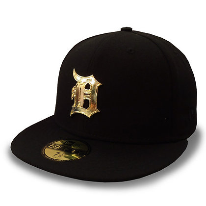 Detroit Tigers Golden Finish Logo New Era Black 59FIFTY Fitted Hat
