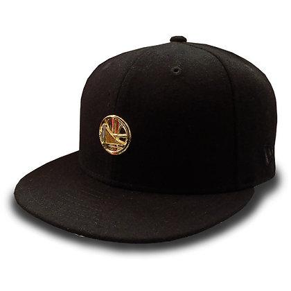 Men's Golden State Warriors New Era Gold Liquid Metal Logo Wool Black 9 FIFTY